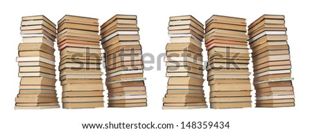 six Stack of Books on white background - stock photo