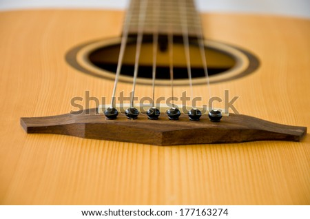 six string of acoustic  guitar background - stock photo