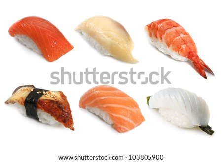 six sushi on the white background