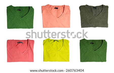 Six t-shirts of different colors  - stock photo