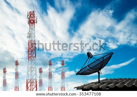 six telecommunications tower with satellite dish on roof - stock photo