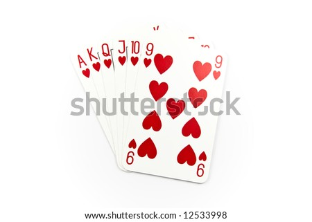 Six top heart cards isolated on white