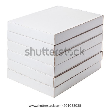 six white boxes isolated on white - stock photo
