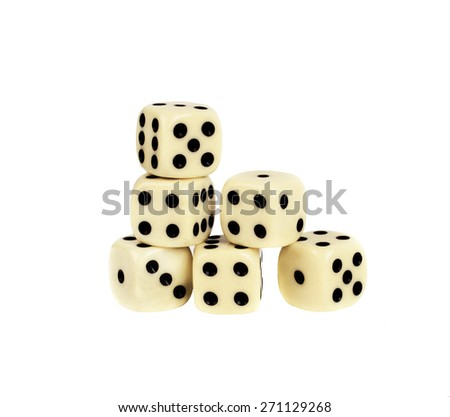Six white dices. Isolated in white background. - stock photo