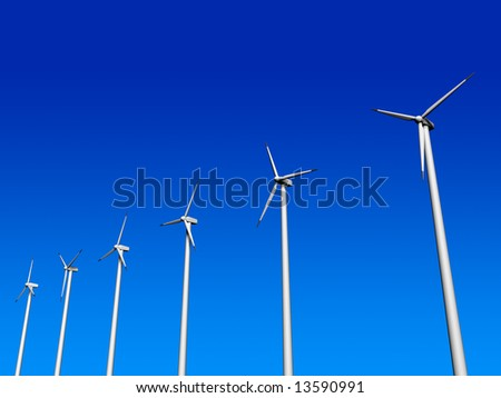 Six wind turbine on blue sky - 3d render