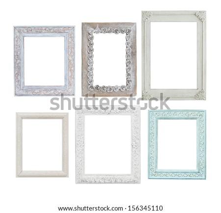 six wooden photo frames isolate on white background - stock photo