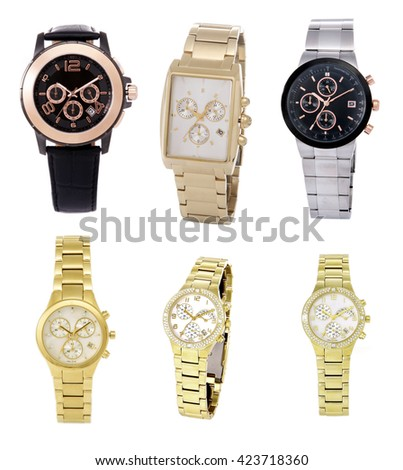 Six wristwatch on a white background. For Shop Clock - stock photo