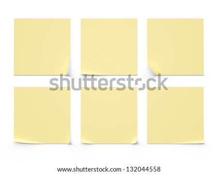 six yellow sticker on a white background - stock photo