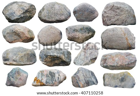 Sixteen big granite stones boulders of various forms and sizes set. Isolated on white collage from several outdoor photos