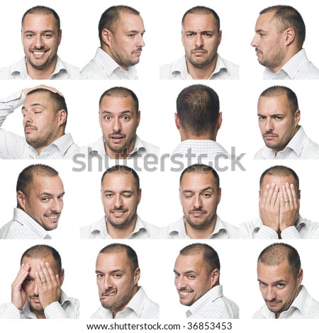 Sixteen facial expressions of a man - stock photo