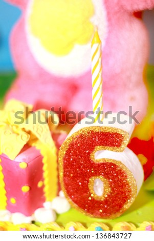 sixth birthday candle