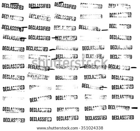Sixty (60) declassified stamps and redactions from an official Cold War sabotage spy manual - stock photo