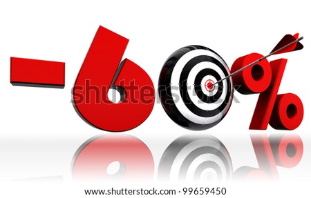 sixty per cent 60% red discount symbol with conceptual target and arrow on white background.clipping path included