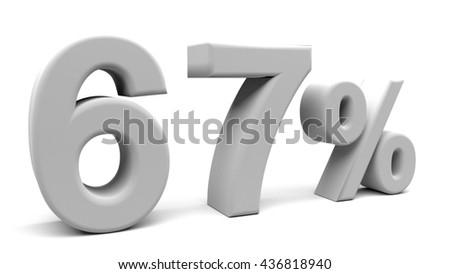 Sixty seven percents 3D text, with big fonts isolated on white background. 3D rendering.