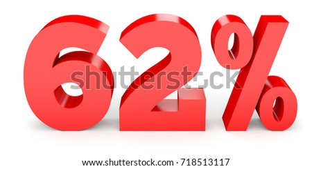 Sixty two percent off. Discount 62 %. 3D illustration on white background.