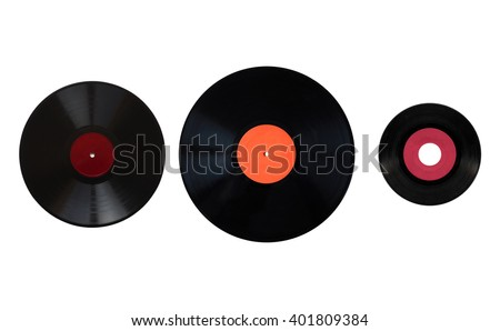 Size comparison of many analogue recording media for music. Left to right: shellac record 78 rpm, vinyl record 33 rpm and 45 rpm - stock photo