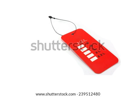 Size Tag isolated on white background - stock photo