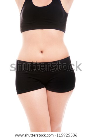 Size 40 woman's body isolated over white background