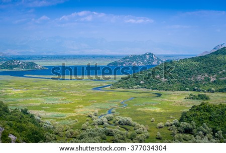 Skadar lake and Crnojevica river landscape. Beautiful nature of Montenegro national parks.