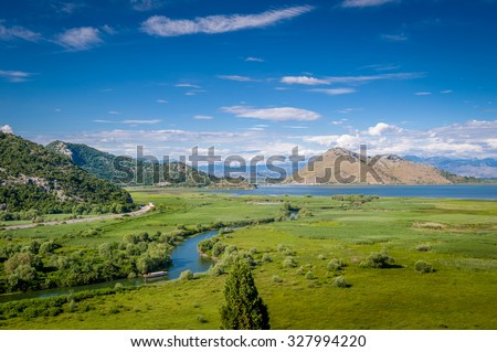 Skadar lake national park and Orahovstica river view from Besac fortress in Virpazar village. Montenegro.