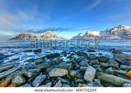 Skagsanden Beach in the Lofoten Islands, Norway in the winter.