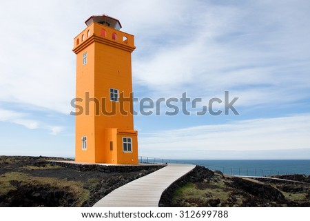 Skalasnagi lighthouse in Snaefellsnes Peninsula, west Iceland - stock photo