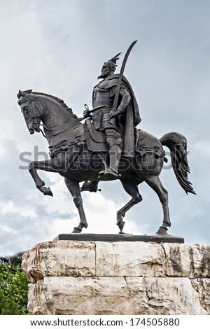 Skanderberg statue in the center, Tirana, Albania - stock photo