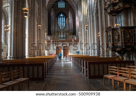 SKARA, SWEDEN - OCTOBER 6: Interior of Skara Cathedral on October 6, 2016 in Skara. The cathedral is one of the most famous churches in Sweden and dates back to the 11th century