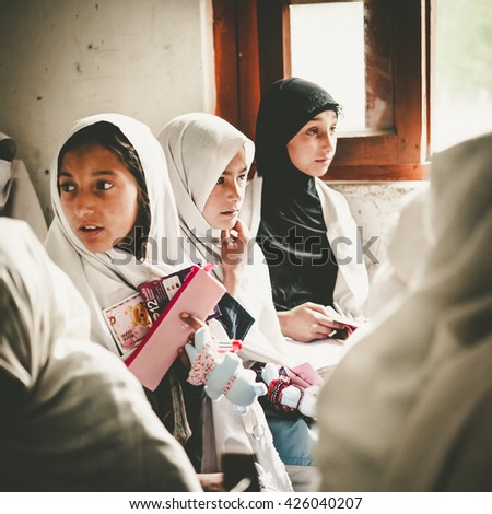 SKARDU, PAKISTAN - APRIL 18: An unidentified Children in a village in the south of Skardu are learning in the classroom of the village school April 18, 2015 in Skardu, Pakistan.