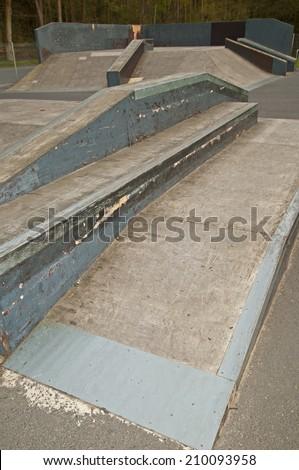 Skate park, Skate park pipe ramp skateboarding skater - stock photo