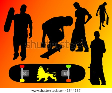 Skate silhouette poses containing clipping paths. - stock photo