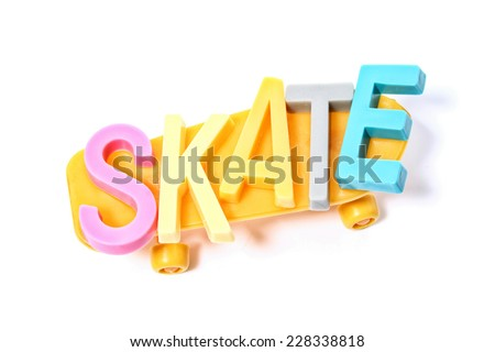 Skate word on a skate board on white background. - stock photo