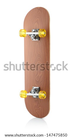 Skateboard deck on white background, isolated path included - stock photo