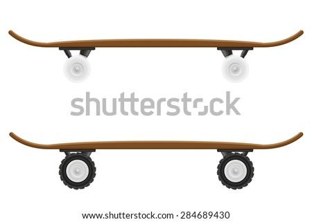 skateboard illustration isolated on white background - stock photo