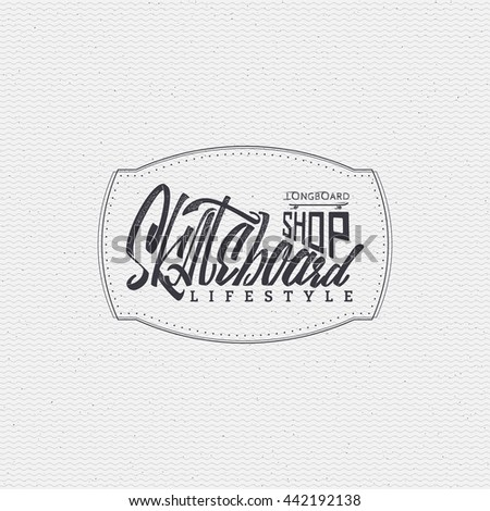 Skateboard - insignia, badge, label, sign, print, stamp, can be used in the design - stock photo