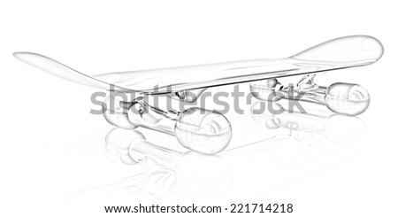 Skateboard on a white background. Pencil drawing - stock photo