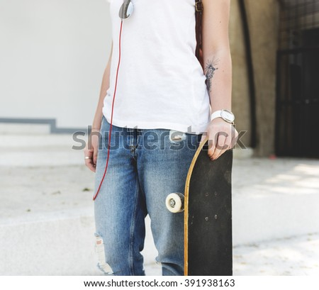 Skateboard Playing Standing Lifestyle Relaxing Concept