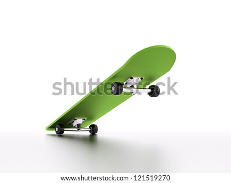 Skateboard with shadow in green colour - stock photo
