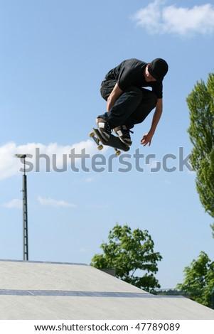 skateboarder at the local skate park. - stock photo