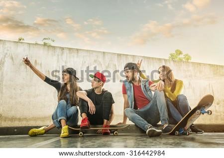 Skateboarder  Couples made selfi photo - stock photo