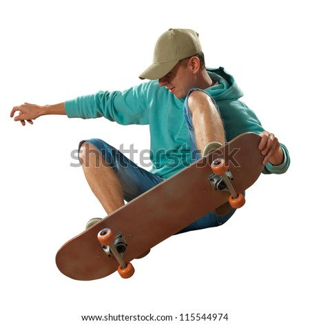 Skateboarder jumping isolated on white