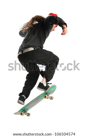 Skateboarder jumping isolated over white background