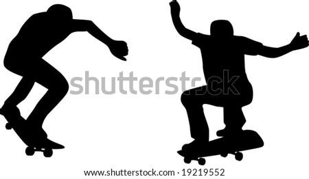 Skateboarder silhouette doing Skateboarder Silhouette Clip Art