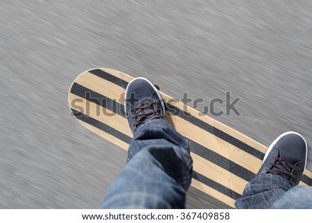 Skateboarder skating - stock photo