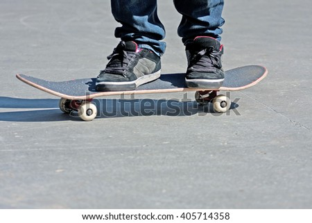 Skateboarders Feet Close Up - stock photo