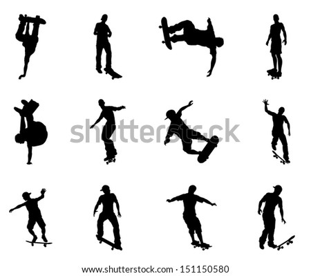 Skateboarders performing lots of tricks on their boards. Very high quality detailed skating skateboarder silhouette outlines. - stock photo
