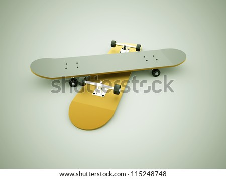Skateboards rendered - stock photo