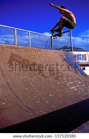 Skater in Halfpipe - stock photo