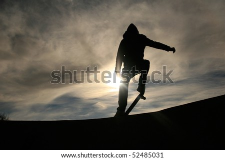 skater silhouette - stock photo