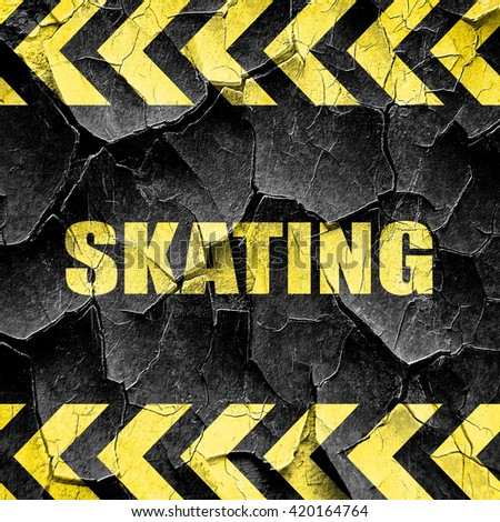 skating sign background, black and yellow rough hazard stripes